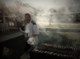 Delicious souvlaki made in the front of the beach and your eyes